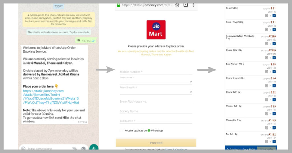 order on jio mart on whatsapp